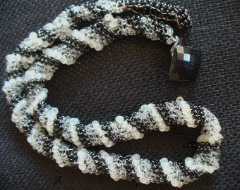 Necklace, Spiral Beadwork, Black and white necklace, Striped necklace, Delicate necklace, Free shipping in US