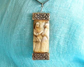 Silver & Bamboo Tile Pendant