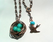 Turquoise and Copper Nest Necklace