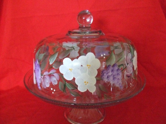 Handpainted Cake Stand Plate/Punch Bowl with Rose Buds, Forget Me Knots and Wisteria