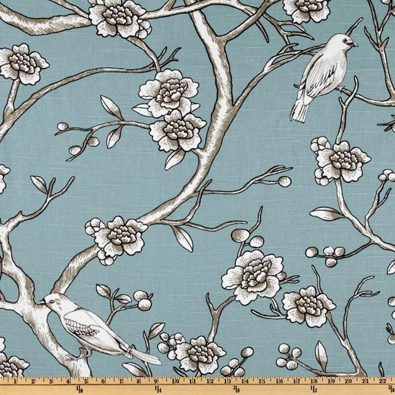"Pillow Cover-SINGLE 18"" x 18"" Dwell Studio Vintage Blossom Azure"