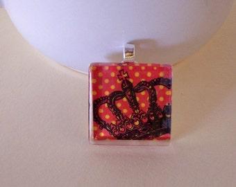 Glass Tile Black Crown on Orange Polka-Dot Background, Keyring, Stained Glass Tile, Halloween Tile