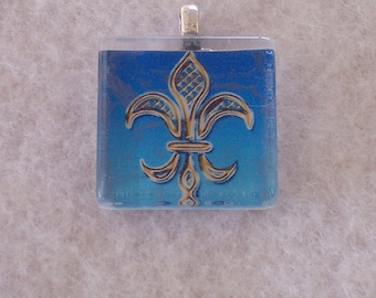 Art Deco Fleur De Lis Handmade Pendant No. 2, Stained Glass, Necklace, Keyring, Magnet, New Orleans, Football Jewelry, French