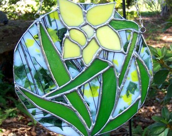 Spring Daffodil Stained Glass Suncatcher, Mobile, Flower, Yellow, Art, Collectible