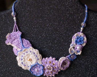 Lavender and Lace Neck Art in Crocheted Cotton and Beads