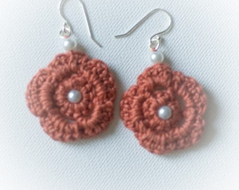 Cotton Crocheted Earrings in Red Copper with Glass Pearls
