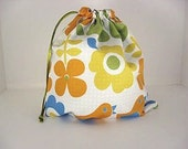 Small Project Knitting Bag- Orange Flower and Blue Gingham