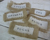 Set of 5 burlap and grain sack PANTRY LABELS