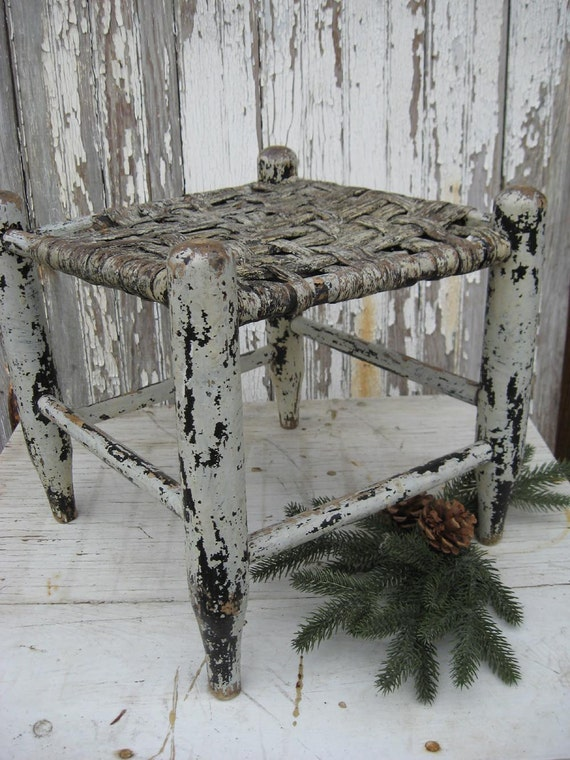 RESERVED for Paula....Antique handmade stool with woven seat and original chippy aqua paint