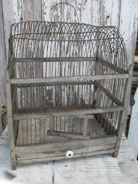 Antique wood and wire birdcage
