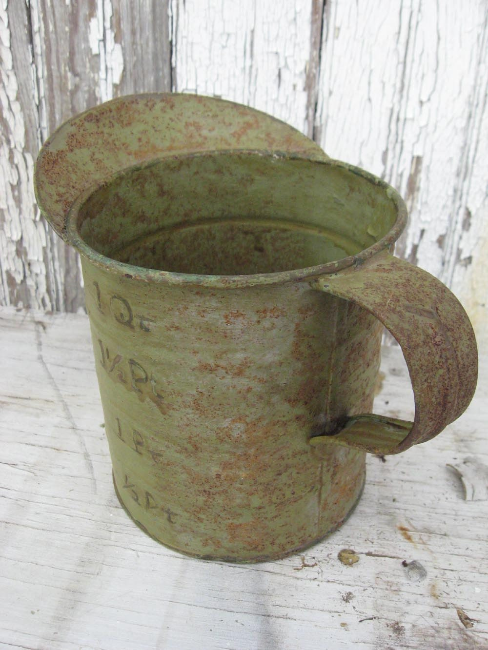 Vintage Metal Measuring Cup Old Chippy Green Paint