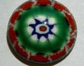 1 BUTTON, 16MM, RED, BLUE AND GREEN MILLEFIORI, ENAMEL ON COPPER