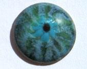 1  Green Eye Enamel  Button 16mm Domed Copper