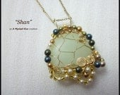 CLEARANCE SHAN Gold Filled Wire Wrapped Chinese Jade Pendant