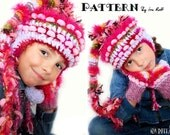 Crochet Hat And Knit Mittens Set PDF Pattern