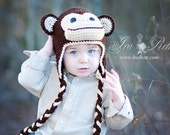 Chimpanzee Monkey Hat with Ear Flaps MADE to ORDER Handmade Crochet Hat