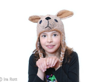 Kangaroo Hat with Ear Flaps for all ages - Made to ORDER