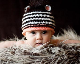 SALE - Newborn Size - Hand Knitted Zebra Hat with Mane - Ready  to Ship