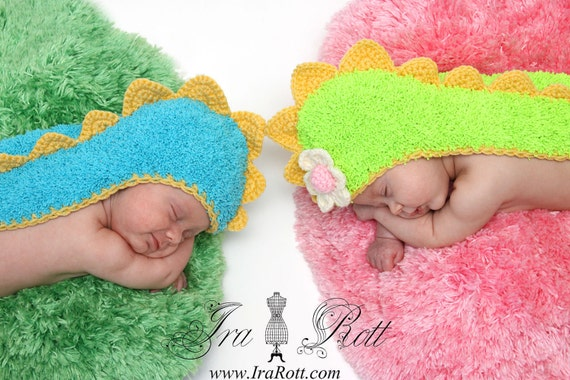 Dino Hat  with Long Tail  for Newborn - READY to ship