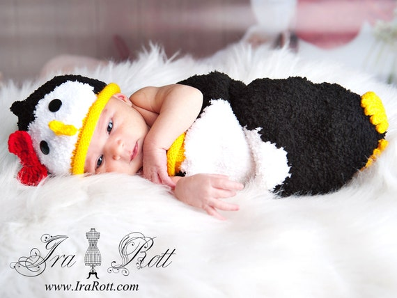 Penguin Hat and Sleeping Bag Set for Newborn - READY to SHIP