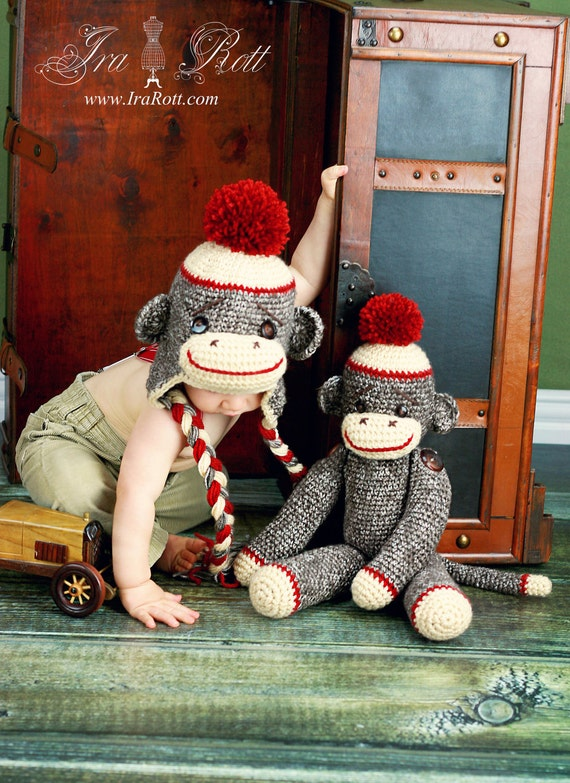 Classic Twist Sock  Monkey Hat with Large Pom Pom MADE to ORDER Handmade Crochet Hat