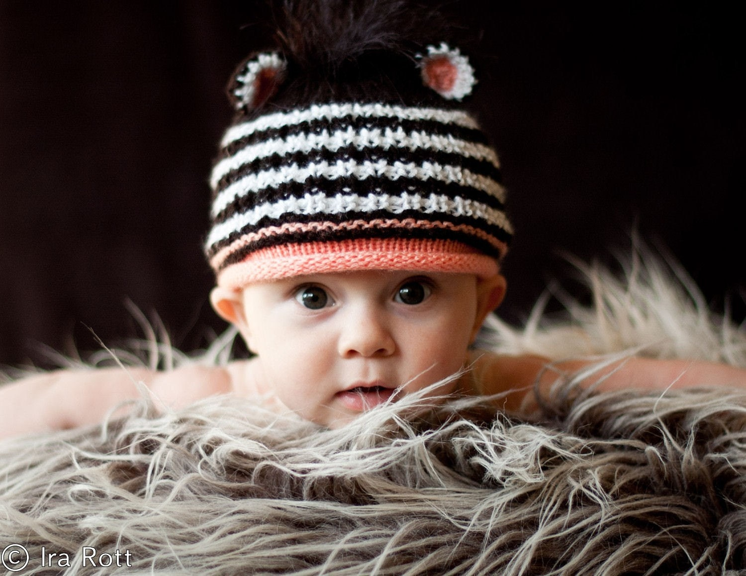 Knitting Pattern For Zebra Hat : SALE Newborn Size Hand Knitted Zebra Hat with Mane Ready