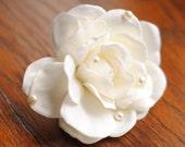 Reserved 4 in. Cream Gardenia Flower Hair Clip with Pearls - Bridal, Wedding Fascinator