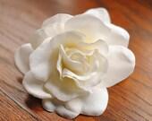 Reserved for Sunny 5-4 in. Cream Gardenia Flower Hair Clip - Wedding, Bridal Fascinator