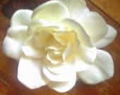 4 in. Cream Gardenia Flower Hair Clip, Wedding, Bridal