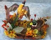 Autumn Driftwood Mallard Duck Silk Flower Table Fall Arrangement