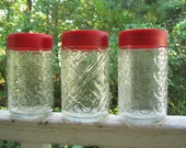 Vintage Screw Top Glass Jar Containers with Red Tops