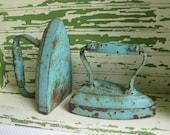 Antique Cast Iron Clothes Iron - pair of number 7 Chippy Aqua