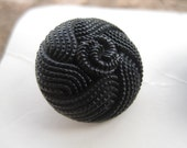Vintage Black Bead Textured Streamline Italy Buttons