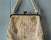 Vintage 1950's Beaded and Embroidered White and Pink Kisslock Purse by Lumured