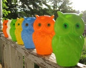 Reserved  Vintage 1960s Wise Old Owl Colorful Hanging Party Lights In Box New Old Stock