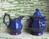 Vintage Blue Pottery Sugar and Creamer Pittsfield Potters Vermont