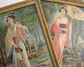 Vintage Geisha Girl Japanese Woman Paint By Number Framed Picture Pair