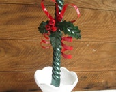 Vintage Christmas Decoration Sale Red Metal Bow Holly Leaves and Bells Candle Holiday Decorations Department 56