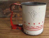 Vintage 1950s White with Red Flowers Androck Sifter
