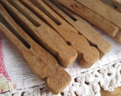 Vintage Flat Style Wooden Clothespins set of 10