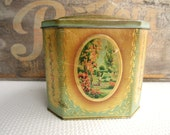 Vintage Romantic Garden Scenes in Pink Aqua Gold Crawford England Biscuit HInged Metal Tin Cottage Chic Home Decor