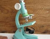 Vintage Tasco Microscope in Robins Egg Blue