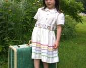 Vintage White Dress with Colorful Embroidered Pansies and Rainbow Ric Rac Detail Little Girl Size 3