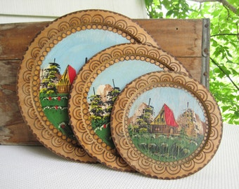 Vintage Hand Painted Pyrography Wall Plates Rustic Country Decor