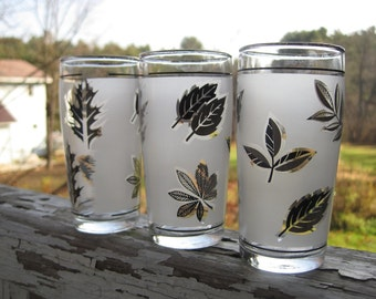 Vintage Three's Company Frosted Leaf Juice Glasses
