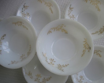 Vintage Federal Glass Golden Glory Milk Glass Small Fruit Dessert Bowls