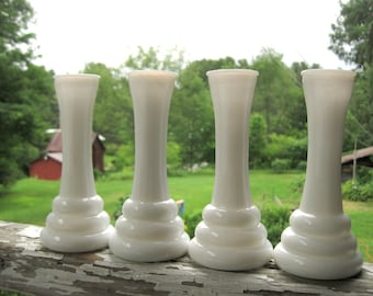 Vintage Milk Glass Vases set of 4 Matching Collection