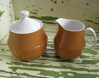 Vintage Ceramic Guild Esperanto Sugar and Creamer in Orange - Butterscotch