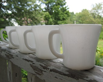 Vintage Federal White Milk Glass Mugs set of 4 and Black Metal Mug Tree