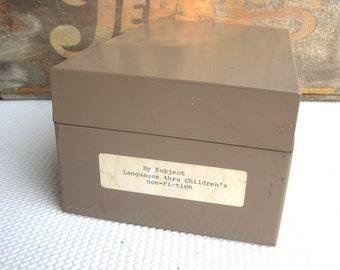 Vintage Industrial Storage File Box Tan